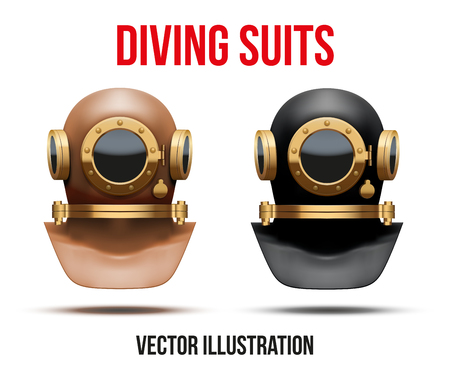 Set Front view of Underwater diving suit scuba helmet. Water leisure, old style. Editable Vector Illustration Isolated on white background Vector