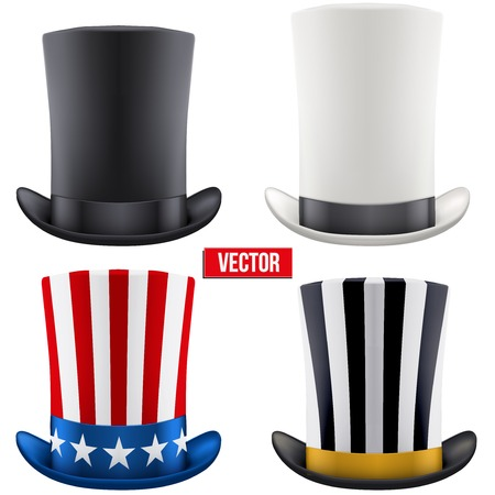 tall hat: Set of tall gentleman hat cylinder with ribbon. Vector Illustration Isolated on white background. Illustration