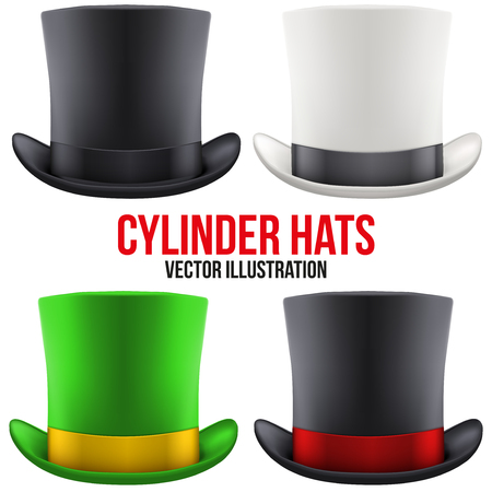 illusionist: Set of gentleman hat cylinder with ribbon. Vector Illustration Isolated on white background.
