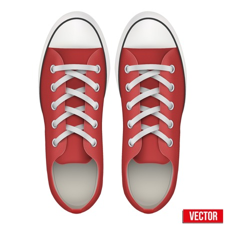 Pair of red simple sneakers. Example gumshoes. Realistic Editable Vector Illustration isolated on white background.