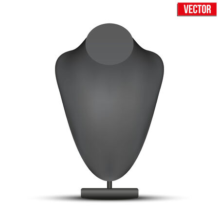 boutique display: Realistic black dummy necklace bust. Editable Vector Illustration on white background.
