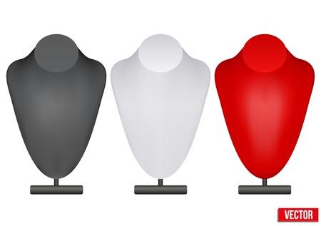 bijouterie: Set of Realistic dummy necklace bust. Editable Vector Illustration on white background. Illustration