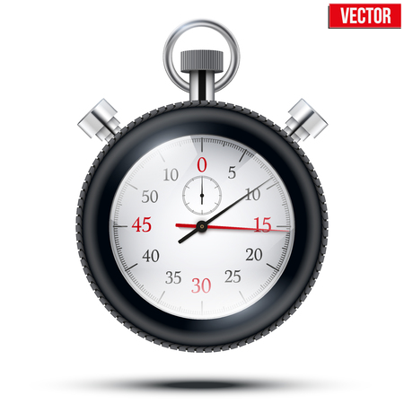stop watch: Realistic shine analog stop watch frimed rubber tires. Sport and speed concept. Vector illustration isolated on white background.