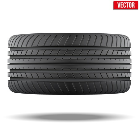 Realistic rubber tire symbol. Top view. Vector Illustration isolated on white background.