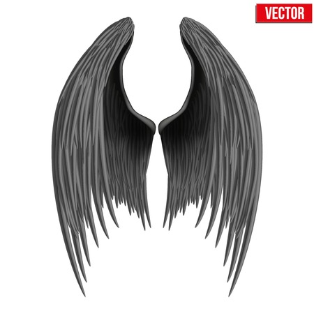 angel gabriel: Black folded angel wings. Vector Illustration isolated on white background. Illustration