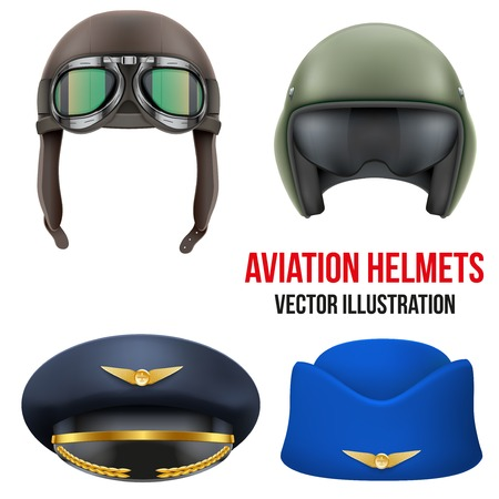 Retro aviator pilot leather helmet with goggles. Vintage object. Vector Illustration. Isolated on white Vettoriali