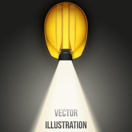 ランプと光クラシック ビンテージ鉱山ヘルメットの上面の背景。白の背景にベクトル画像