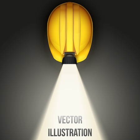 Background of Top view of Classic vintage miners helmet with lamp and light. Vector illustration on a white background
