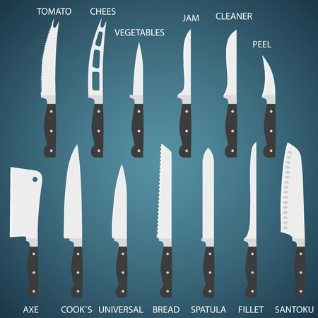 Full Set flat icons of kitchen knives with signature names. Vector isolated on white background. Vector