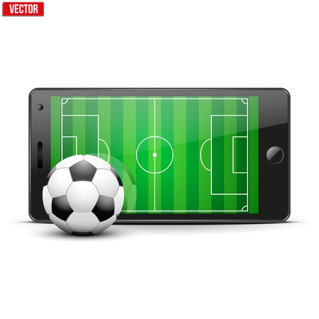 Mobile phone with football soccer ball and field on the screen. Sports theme and applications. Vector illustration Isolated on white background. Vector