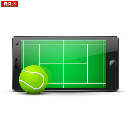 horisontal: Mobile phone with tennis ball and field on the screen. Sports theme and applications. Vector illustration Isolated on white background. Illustration