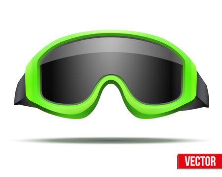 ski goggles: Classic green snowboard ski goggles with black glass. Vector isolated on white background