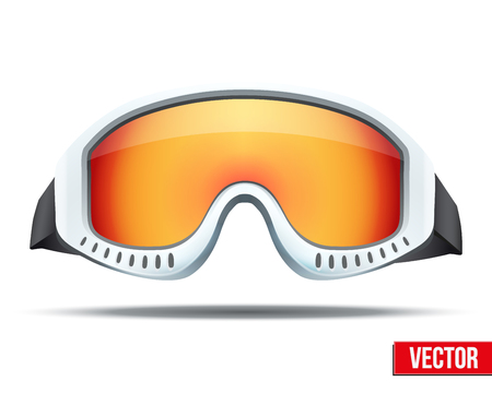 065bc886f55 Classic snowboard ski goggles with colorful glass. Vector isolated on white  background Illustration