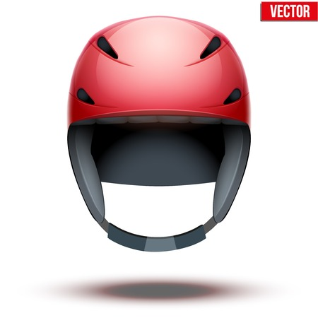 mountain view: Front view of Classic red Ski helmet. Winter mountain vacation. Vector isolated on white background