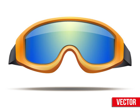ski goggles: Classic orange snowboard ski goggles with colorful glass. Vector isolated on white background