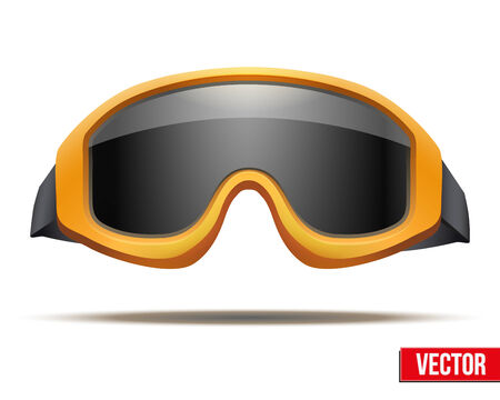 ski goggles: Classic orange snowboard ski goggles with black glass. Vector isolated on white background