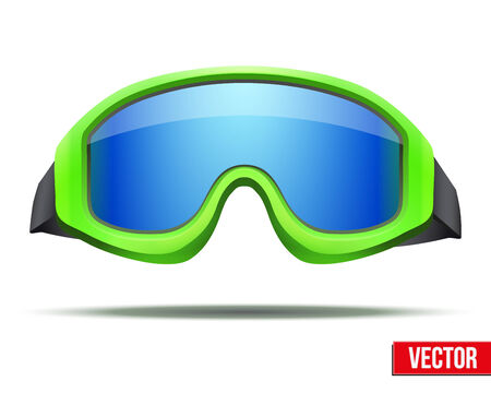ski goggles: Classic green snowboard ski goggles with blue glass. Vector isolated on white background