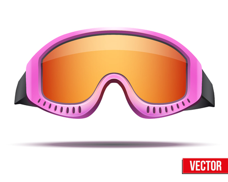 ski goggles: Female Classic pink snowboard ski goggles with colorful glass. Vector isolated on white background