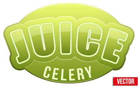 celery: Label for celery juice. Bright premium quality design. Editable Vector Illustration isolated on white background.