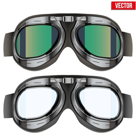Retro aviator pilot glasses goggles. Vintage object. Vector Illustration. Isolated on white