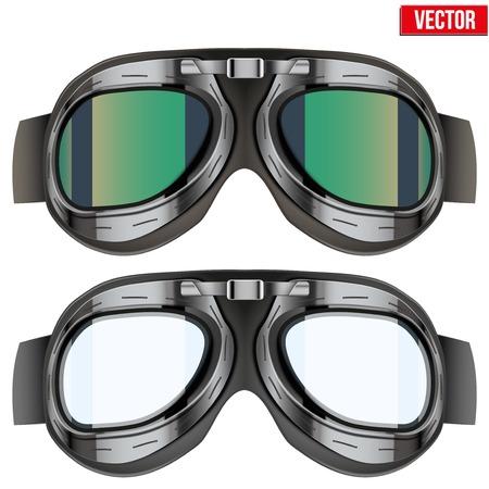 Retro aviator pilot glasses goggles. Vintage object. Vector Illustration. Isolated on white