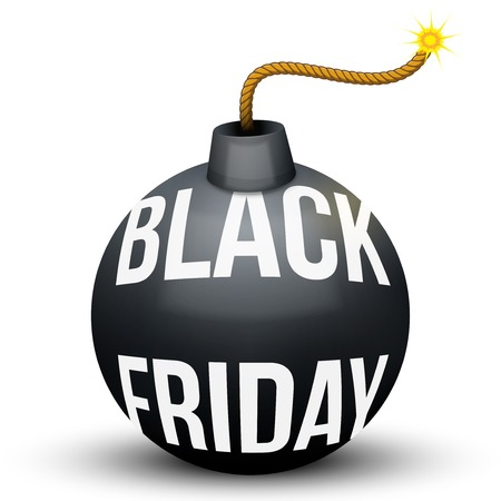 Bomb About To Blast with Black Friday sales tag. Vector Illustration isolated on white background. Stock Illustratie