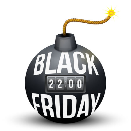 Bomb About To Blast with Black Friday sales tag and time counter. Vector Illustration isolated on white background. Vector