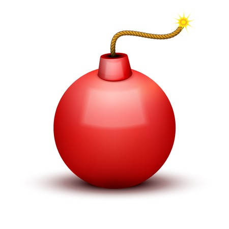 Red Bomb About To Blast with burning wick. Vector Illustration isolated on white background. Vector