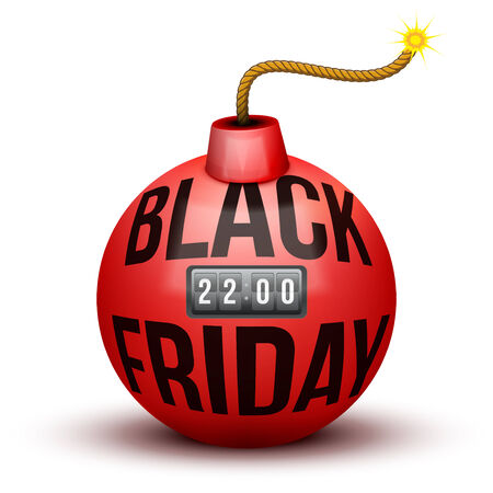 bomb price: Red Bomb About To Blast with Black Friday sales tag and time counter. Vector Illustration isolated on white background.