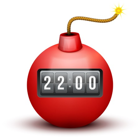 explosive watch: Red Bomb About To Blast with burning wick and time counter. Vector Illustration isolated on white background.