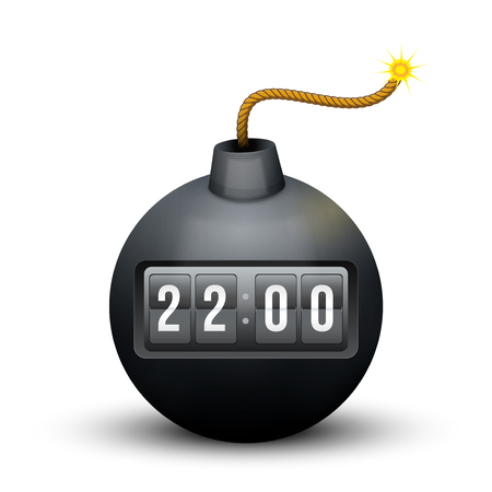 the wick: Black Bomb About To Blast with burning wick and time counter. Vector Illustration isolated on white background. Illustration