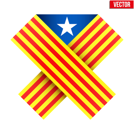 catalonia: Ribbon of independence to support Catalonia. Vector Illustration Isolated on white background. Illustration
