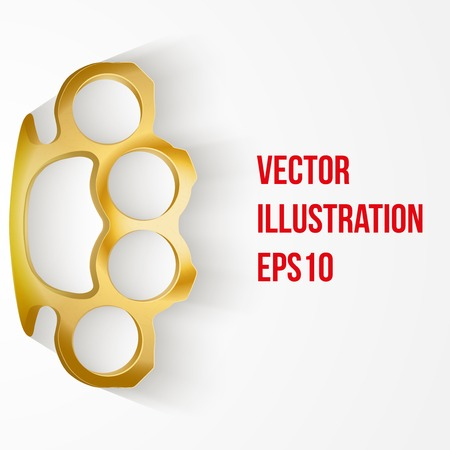 Light Background of crime detective scene with space for text. Weapons mafia of Metal Brass-knuckles. Vector illustration. Vector
