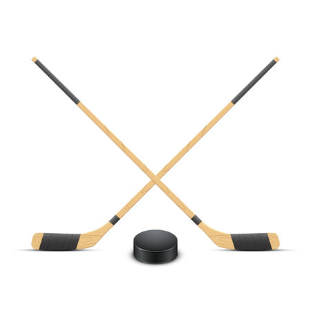 Ice Hockey puck and sticks. Sport symbol. Vector Illustration isolated on white background Vector
