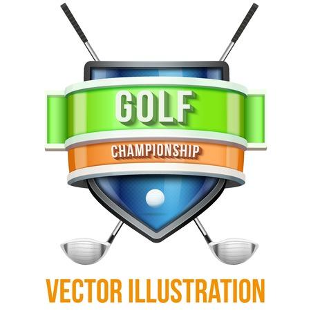 yarışma: Golf sporunun yarışma için etiket. Parlak yüksek kaliteli tasarım. Düzenlenebilir Vektör Illustration beyaz arka plan üzerinde izole.