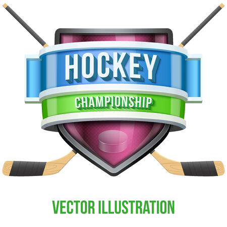 Label for hockey sport competition. Bright premium quality design. Editable Vector Illustration isolated on white background. Vector