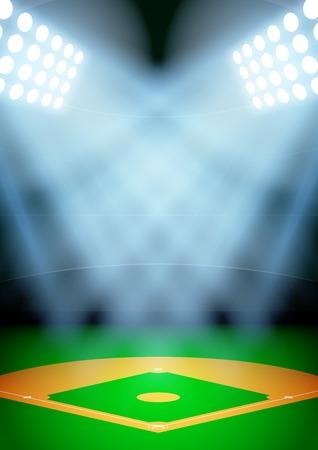 La vertical del fondo de la noche posters estadio de béisbol en el centro de atención. Ilustración vectorial editable.