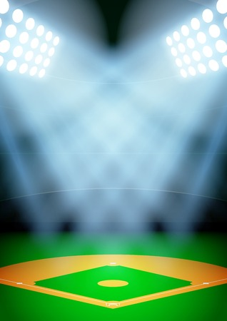 affiche: Vertical Background for posters night baseball stadium in the spotlight. Editable Vector Illustration.