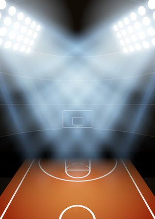 Vertical Background for posters night basketball stadium in the spotlight. Editable Vector Illustration.  イラスト・ベクター素材