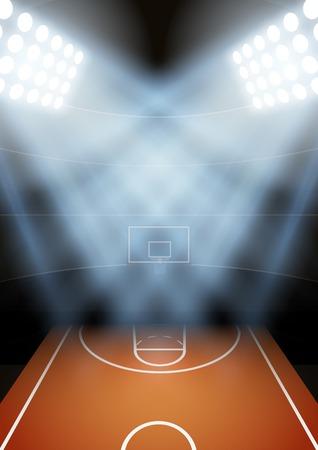 Verticale Achtergrond voor posters nacht basketbal stadion in de schijnwerpers. Bewerkbare vector illustratie. Stock Illustratie