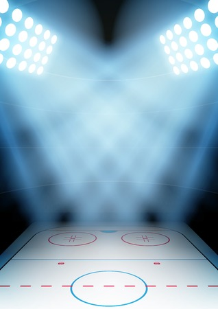 スポット ライトでポスター夜アイス ホッケー競技場の垂直背景。編集可能なベクトル イラスト。  イラスト・ベクター素材