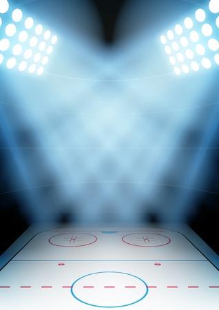 Verticale Achtergrond voor posters nacht ijshockey stadion in de schijnwerpers. Bewerkbare vector illustratie.