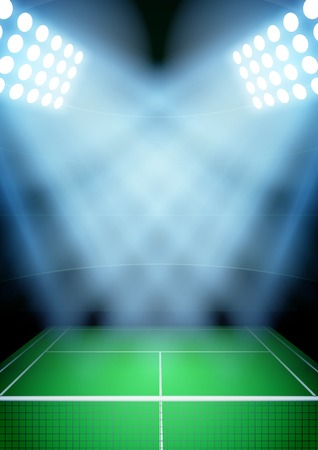tennis stadium: La vertical del fondo para los carteles noche estadio de tenis en el centro de atenci�n. Ilustraci�n vectorial editable.