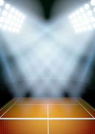 tennis stadium: Vertical del fondo para los carteles noche estadio de tenis en el centro de atenci�n. Ilustraci�n vectorial editable. Vectores