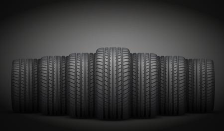 暗い背景の現実的なゴム製タイヤのバナーです。正面から見た図。ベクトルの図。  イラスト・ベクター素材