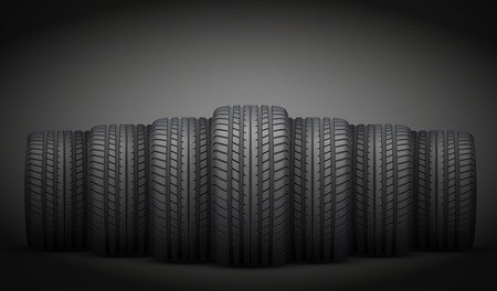 Dark Background of Realistic rubber tires banner. Front view. Vector Illustration. Illustration