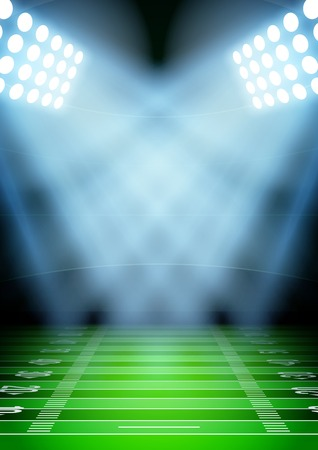 fields: Vertical Background for posters night football stadium in the spotlight. Editable Vector Illustration.