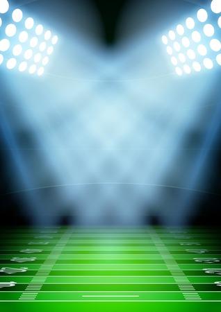 Vertikale Hintergrund für Plakate Nacht Fußballstadion im Rampenlicht. Editierbare Vektor-Illustration.