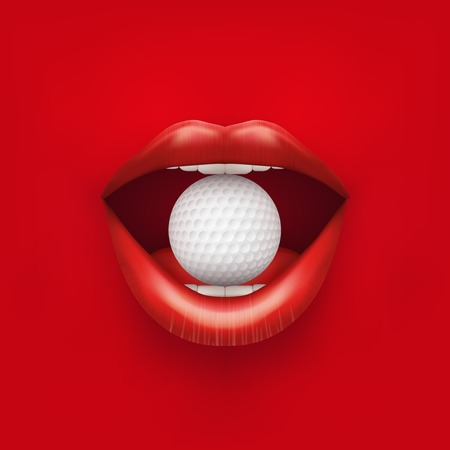Background of Womans open mouth with golf ball in lips. Vector Illustration.