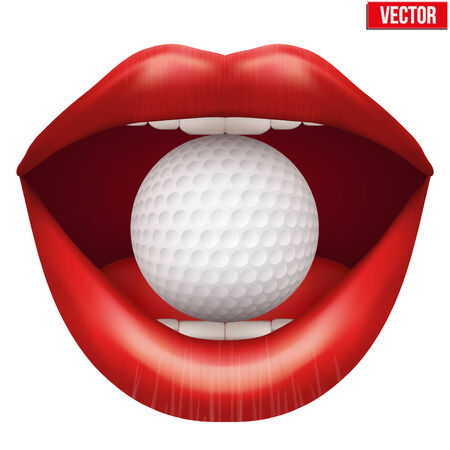Womans open mouth with golf ball in lips. Vector Illustration. Isolated on white background. Vector